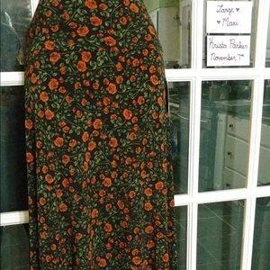 LuLaRoe Maxi Skirt Floral Roses Floor Length NWT